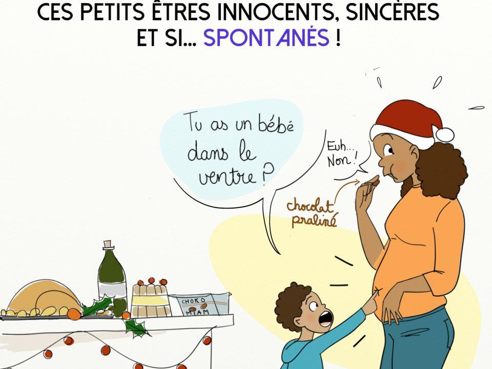 gourmandise pendant les fêtes de Noël et la vérité sort de la bouche des enfants