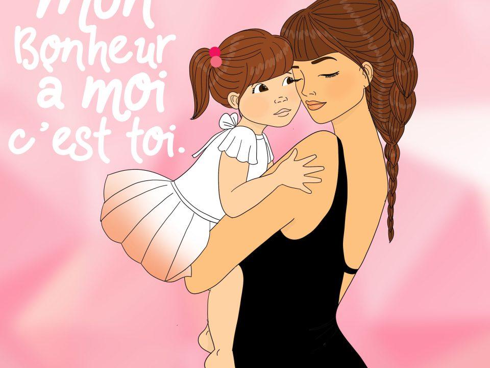 Mon bonheur à moi c'est toi, câlin d'une maman à sa fille illustration de queenmama blogueuse à Rouen
