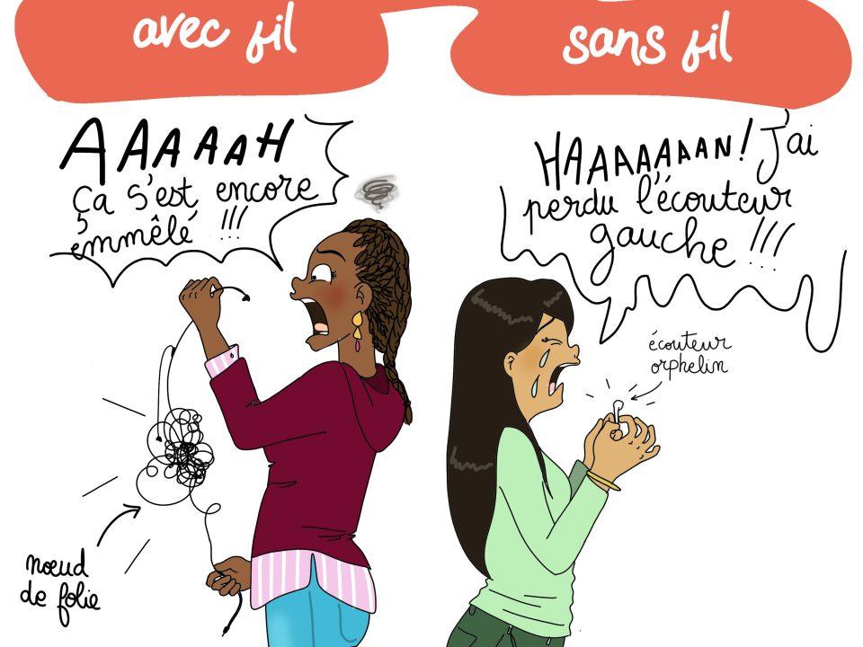 humour, illustratrice, dessin, écouteurs sans fil, illustration, rouen, paris