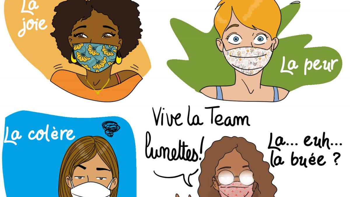masque, lunettes, buée, covid19, blog, illustratrice, femme, rouen, humour