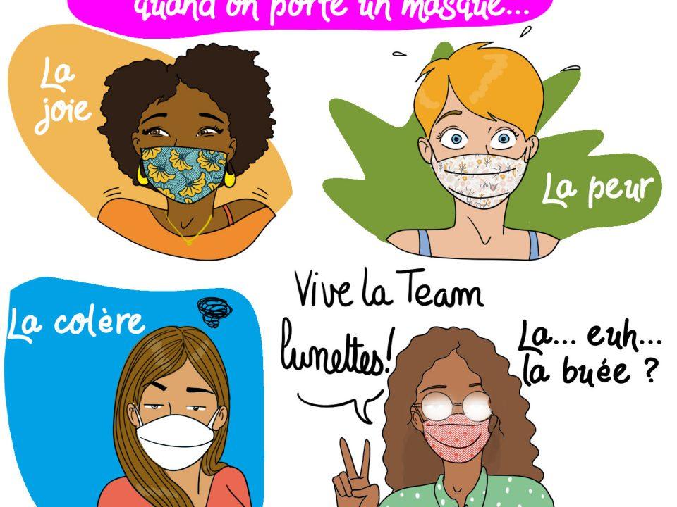 masque, lunettes, blog illustratrice, covid