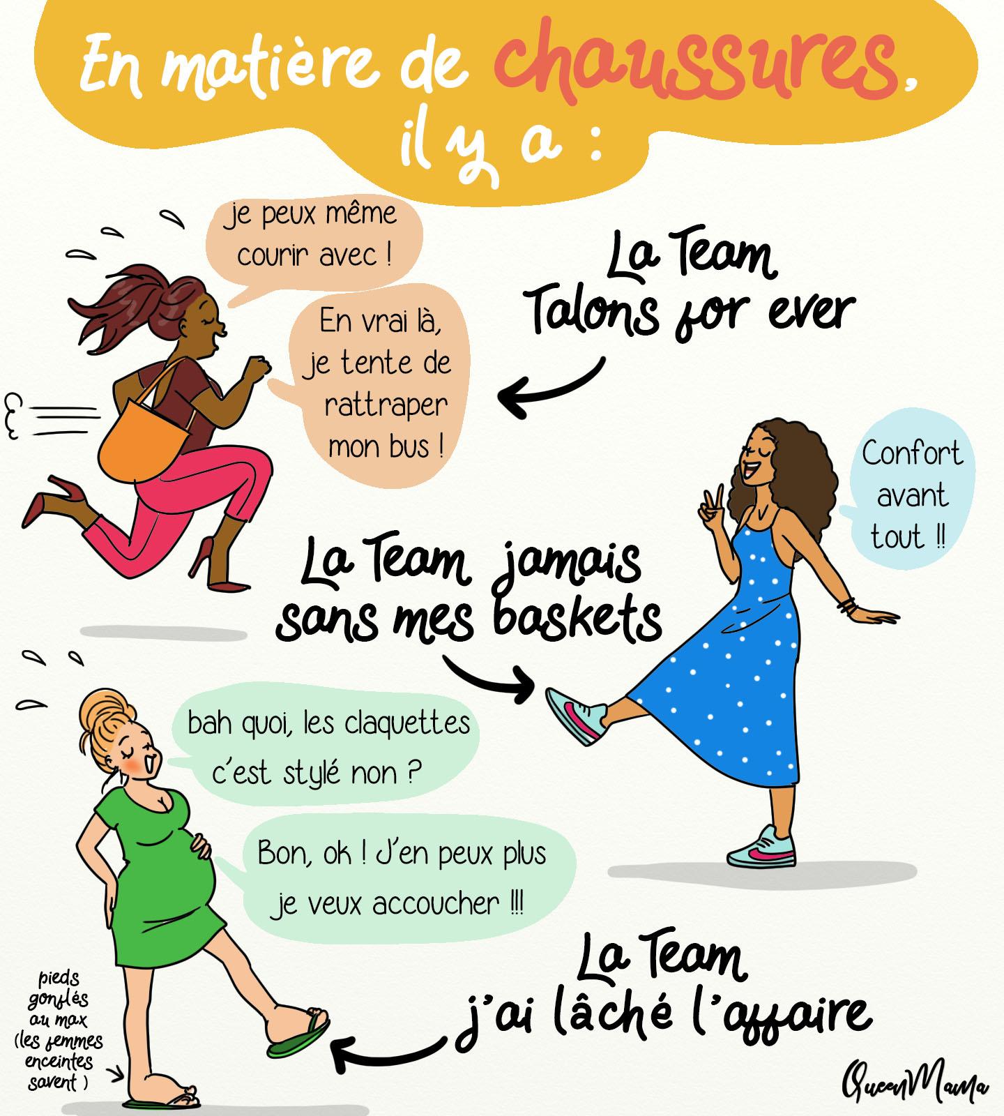 femmes, chaussures, illustration, queenmama, baskets, chaussures à talon; femme enceinte,, rétention d'eau, tongs