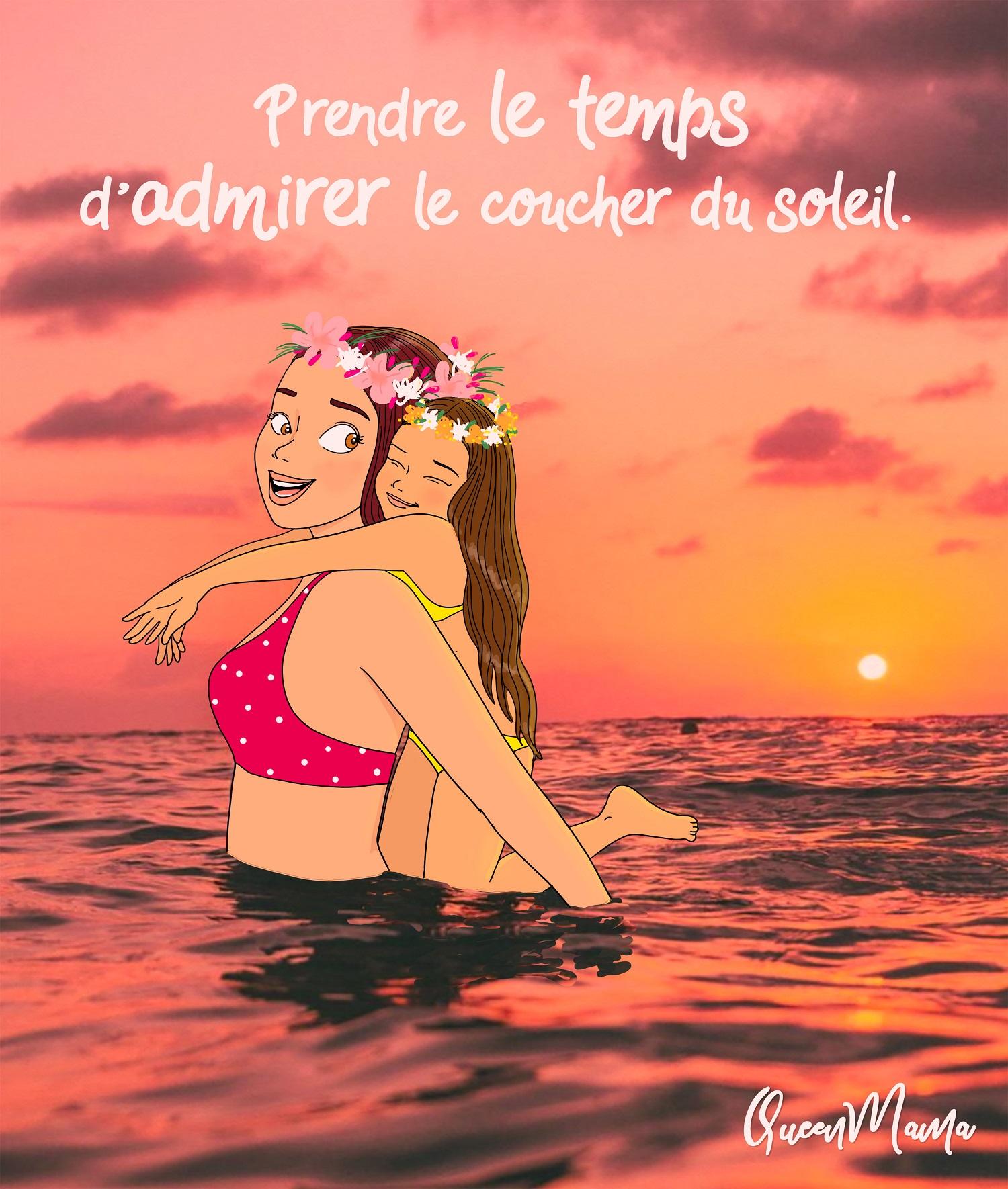 Maman et fille se baignent dans la mer face au coucher du soleil illustratrice queenmama rouen paris nature environnement été mer plage
