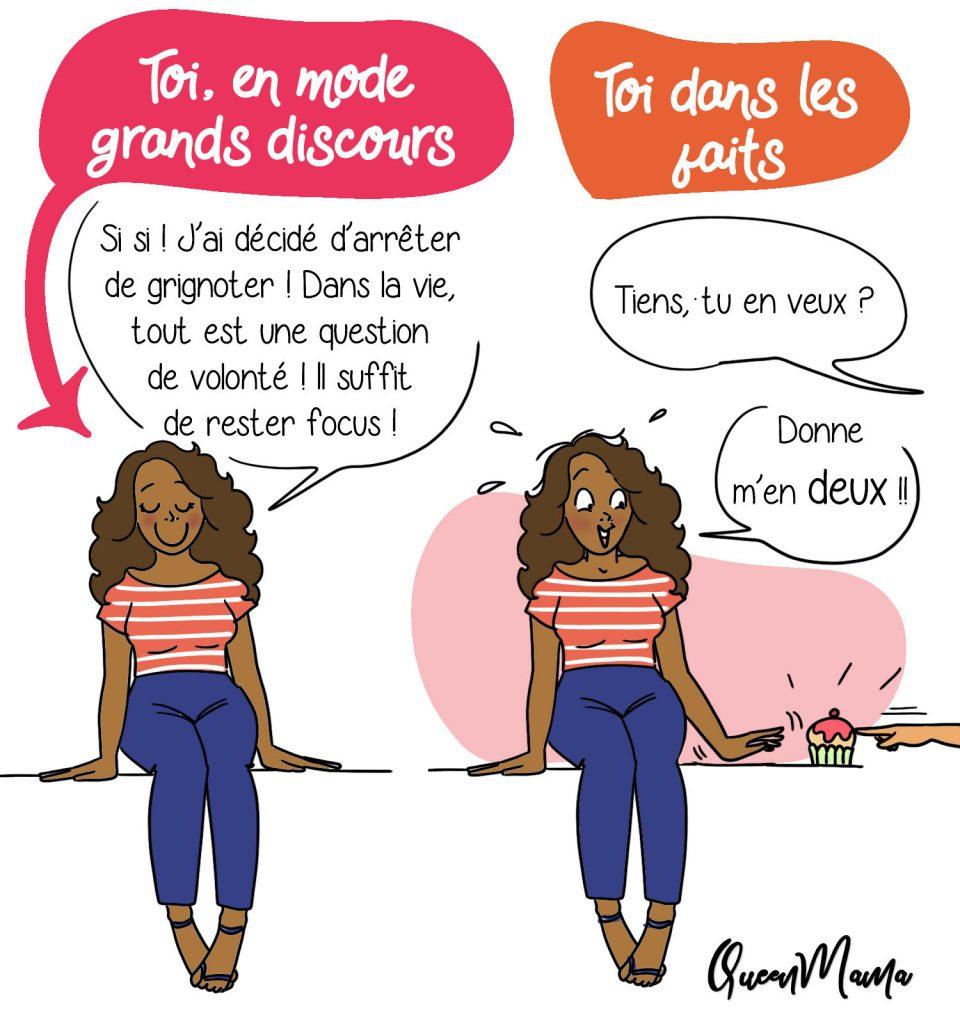illustratrice rouen paris humour gourmandise food addict régime gâteau queenmama