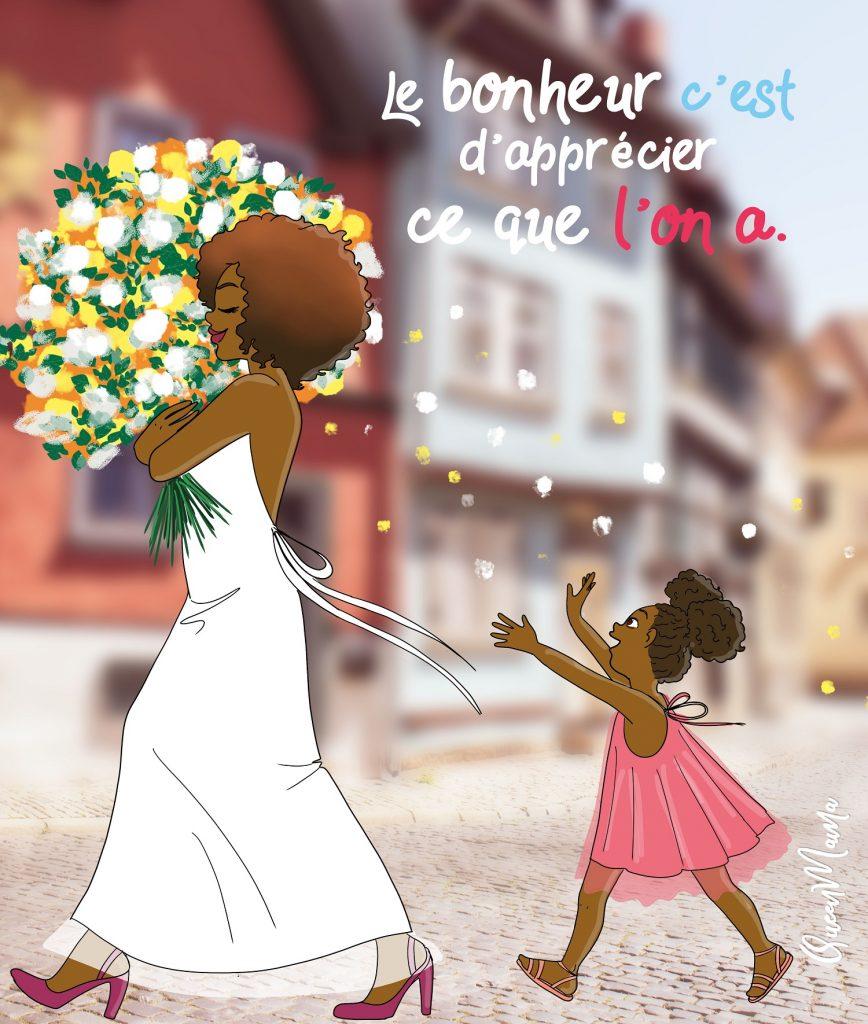 Une maman porte des fleurs et sa filles marche derrière elle en tentant d'attraper les pétales de fleurs