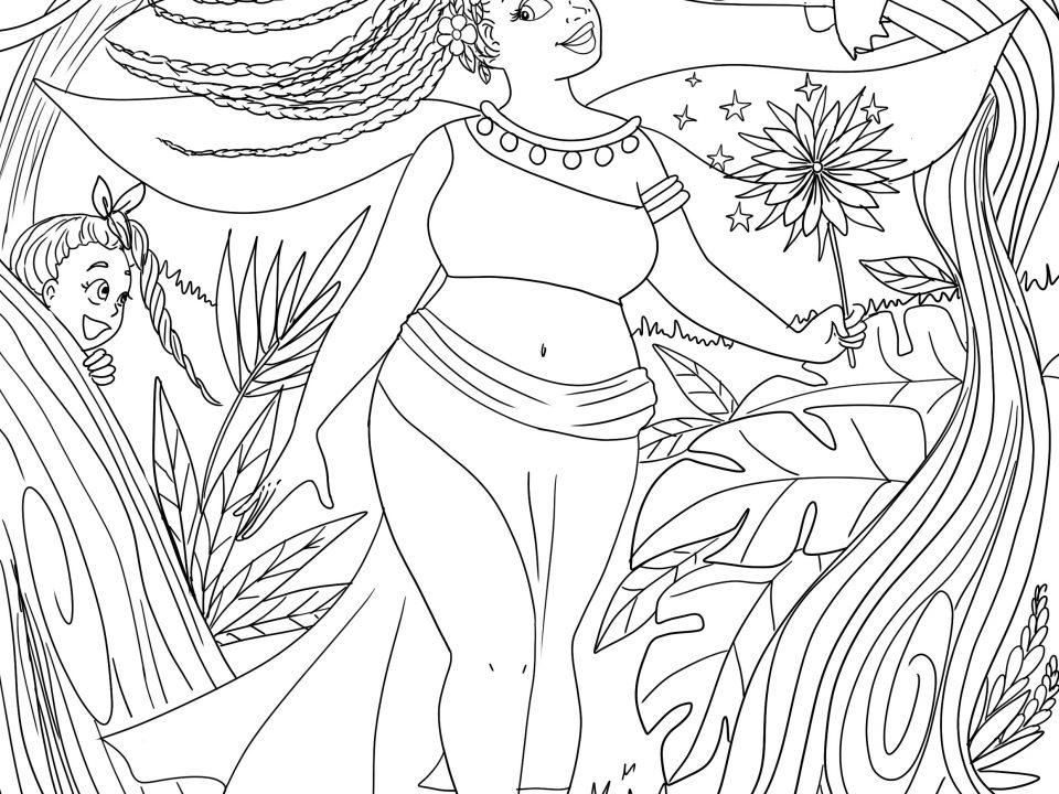 coloriage printemps femme fée de la nature